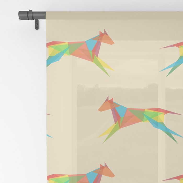Fractal Geometric Dog Sheer Curtain