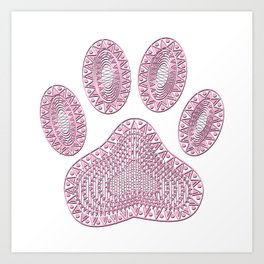 Abstract Pink Ink Dog Paw Print Art Print