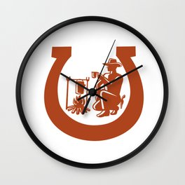 Cowboy Drinking Coffee Horseshoe Mascot Wall Clock