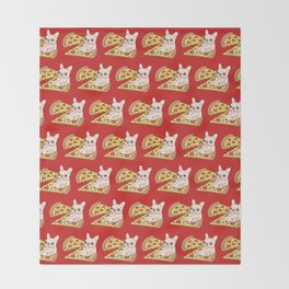 Cream Frenchie invites you to her Pepperoni pizza party Throw Blanket