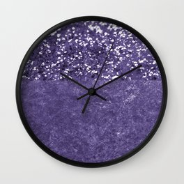 Ultra Violet Glitter Meets Ultra Violet Concrete #1 #decor #art #society6 Wall Clock
