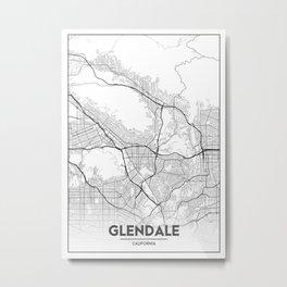 Minimal City Maps - Map Of Glendale, California, United States Metal Print