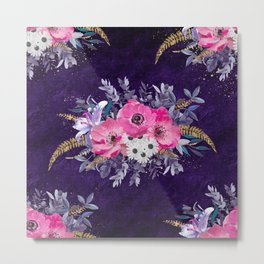 Romantic gold and purple floral design Metal Print