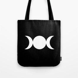 Triple Goddess Symbol – Divine Feminine – Maiden, Mother, Crone - White on Black Tote Bag
