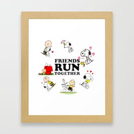 SNOOPY  Friends Run Together Framed Art Print