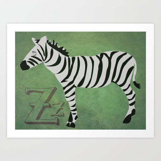 Sleepy Zzzzebra Art Print
