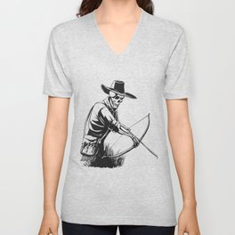 Cowboy skeleton with crossbow - black and white - gothic skull cartoon - ghost silhouette Unisex V-Neck