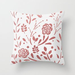 Fresh Floral - Rose Gold Throw Pillow
