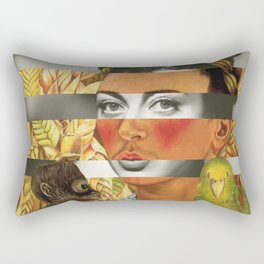 Frida Kahlo's Self Portrait with Parrot & Joan Crawford Rectangular Pillow