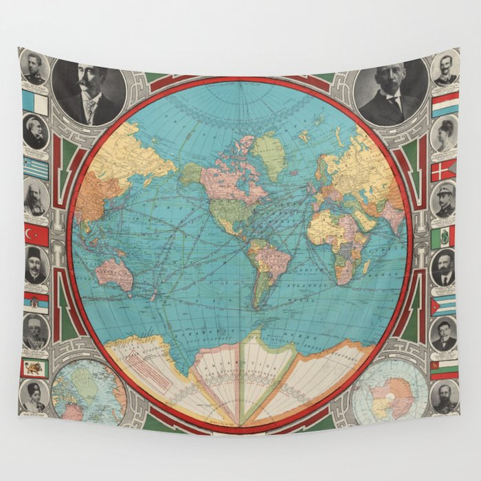 Vintage Map of The World (1913) Wall Tapestry by bravuramedia | Society6