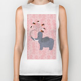 Happy Elephant and cute birds Biker Tank