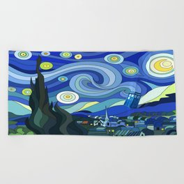 Tardis Art Starry Night Beach Towel
