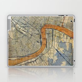 New Orleans Louisiana 1932 vintage map, NO old colorful artwork Laptop & iPad Skin