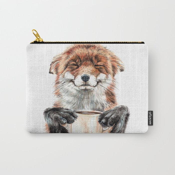 """"""" Morning fox """" Red fox with her morning coffee Tasche"""