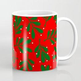 mistletoe on red Coffee Mug