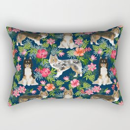 Sheltie shetland sheepdog hawaii floral hibiscus flowers pattern dog breed pet friendly Rectangular Pillow