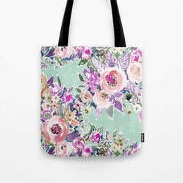 Mint SO LUSCIOUS Painterly Floral Tote Bag