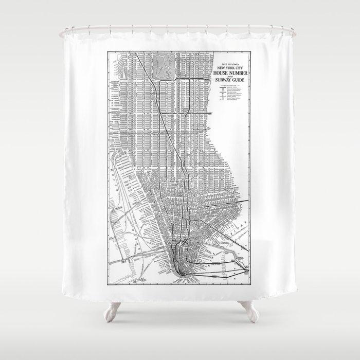 New York City Subway Map Art Manhattan Shower Curtain
