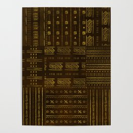 Gold African Tribal Pattern on rich brown texture Poster