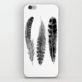 Feather Trio | Black and White iPhone Skin