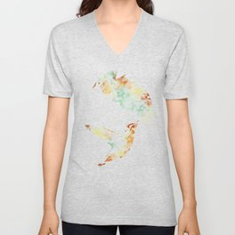 Colorful Teal Hummingbird Art Unisex V-Neck