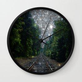 Train Tracks Sparkling Dream : Next Stop Anywhere Wall Clock