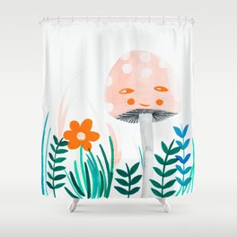 pink mushroom with floral elements Shower Curtain