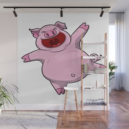 Happy Pig Celebrating A Birthday Party Swine T Shirt Gift Idea Wall Mural