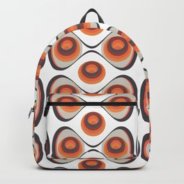 Orange, Brown, and Ivory Retro 1960s Circular Pattern Backpack
