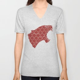 PANTHER SILHOUETTE HEAD WITH PATTERN Unisex V-Neck