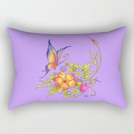 Spring Flowers and Butterfly Posy Rectangular Pillow