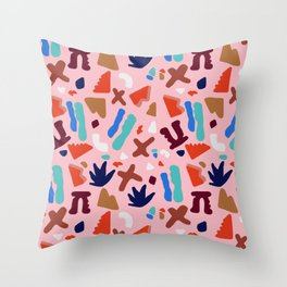 Coral Seagrove Terrazzo Pattern Throw Pillow