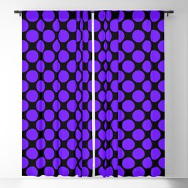 Purple Polka Dots on Black Blackout Curtain