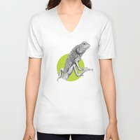 lizard V-neck T-shirts featuring Lizard by HanYong