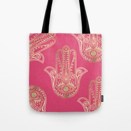 Neon pink faux gold inspirational Hamsa hand of Fatima Tote Bag