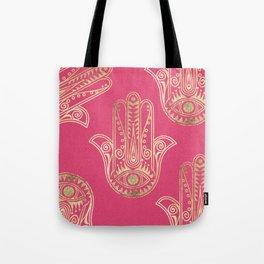 Neon pink faux gold inspirational Hamsa hand of Fatima Tote Bag