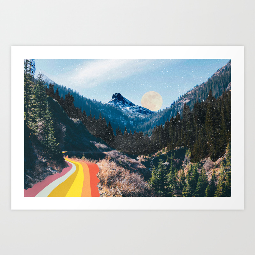 1960's Style Mountain Collage Art Print by Justinek28
