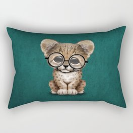 Cute Cheetah Cub Wearing Glasses on Teal Blue Rectangular Pillow