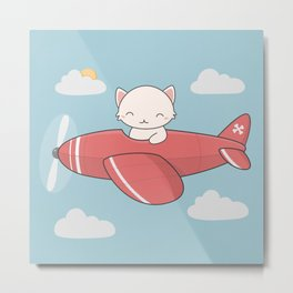Kawaii Cute Flying Cat Metal Print
