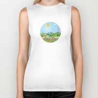 denmark Biker Tanks featuring Landscape of Denmark by Design4u Studio
