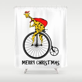 Giraffe on a bike Santa Claus Shower Curtain