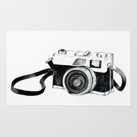 vintage camera Area & Throw Rugs featuring Vintage camera  by Bridget Davidson