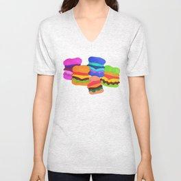 weird cheeseburgers Unisex V-Neck