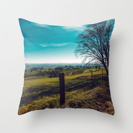 Lonely Tree Besides Country Road In Beautiful Countryside Ultra HD Throw Pillow