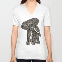 ornate V-neck T-shirts featuring Ornate Elephant by ArtLovePassion