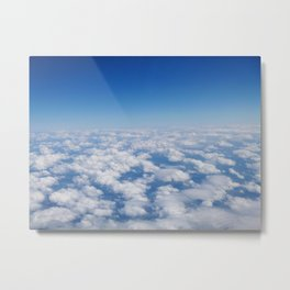 Blue Sky White Clouds Color Photography Metal Print