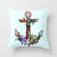 anchor Throw Pillows featuring anchor by ybalasiano