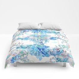 Aqua Chalcedony Luna Moth Succulent Floral Comforters