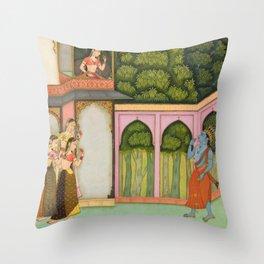 Krishna Approaches Radha - 17th Century Classical Hindu Art Throw Pillow