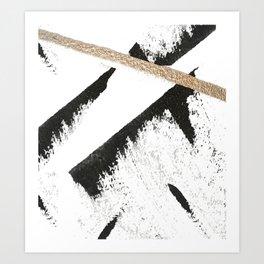 Sassy: a minimal abstract mixed-media piece in black, white, and gold by Alyssa Hamilton Art Art Print